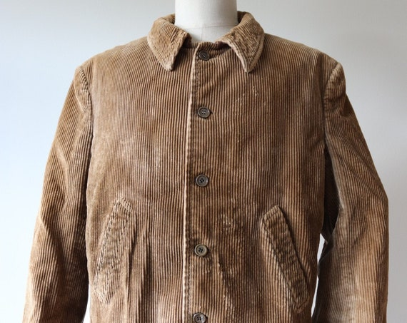 """Vintage 1950s 50s french tan brown corduroy blouson work chore hunting jacket 47"""" chest workwear"""