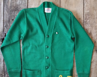 "Vintage 1960s 60s American Campus varsity letterman green knitted wool cardigan sweater Louis xs 32"" chest Ivy League style rockabilly"