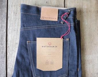 "Hiut Denim slim organic indigo jeans 34"" x 33"" handmade in Wales"