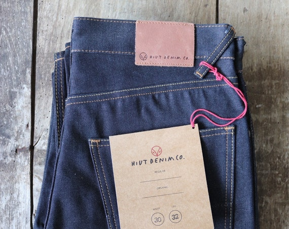 "Hiut Denim regular organic indigo jeans 31"" x 32"" handmade in Wales"