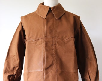 """Vintage 1960s 60s deadstock french brown cotton canvas tin cloth SNCF railway work jacket workwear chore 48"""" chest showerproof chin strap"""