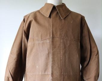 "Vintage 1960s 60s french brown cotton canvas tin cloth SNCF railway work jacket workwear chore 48"" chest showerproof chin strap"