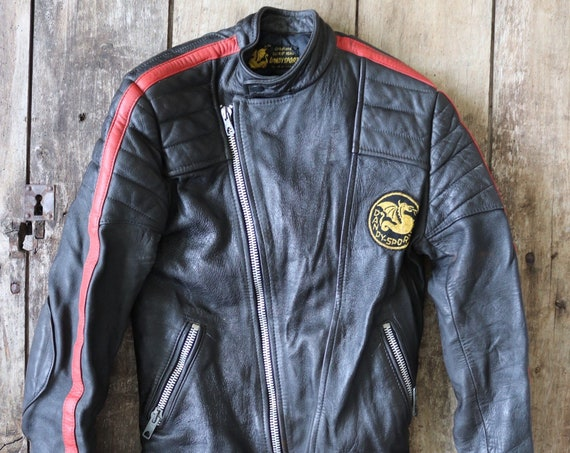 "Vintage 1980s 80s black red leather cafe racer jacket xs 36"" chest biker motorcycle motorbike"