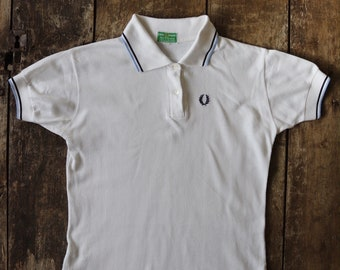 "Vintage 1960s 60s Fred Perry green label polo t shirt white small 36"" chest mod original skinhead scooter unisex M53 Quadrophenia"