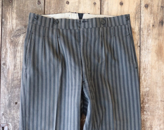 """Vintage 1950s 50s french grey black striped trousers pants pleated suspender buttons Sunday best 34"""" x 27"""" button fly"""