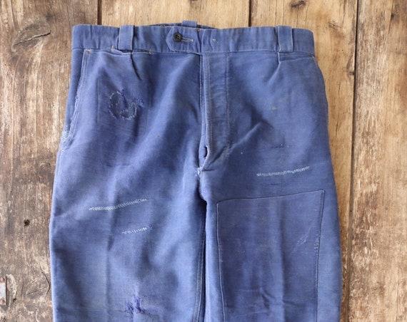 "Vintage 1950s 50s french indigo blue bleu de travail moleskin chore work pants trousers workwear 31"" x 25"" darned repaired"
