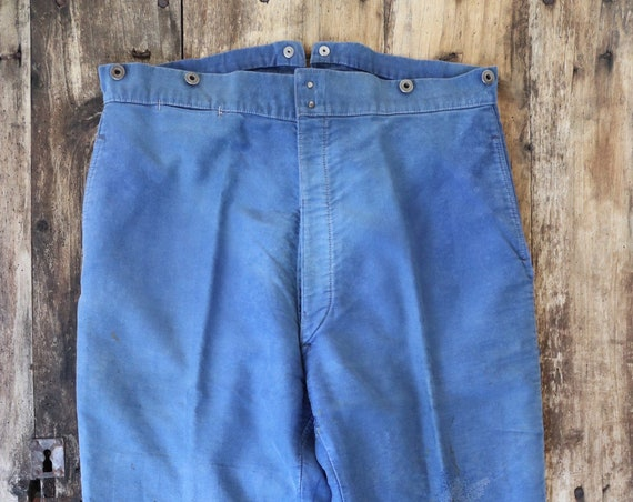 "Vintage 1950s 50s Le Mont french bleu de travail blue indigo moleskin chore work trousers pants buckle cinch back patched darned 37"" x 28"""