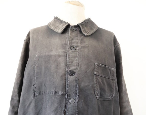 """Vintage 1960s 60s french black moleskin jacket repaired darned repair sun faded 53"""" chest work chore workwear project"""