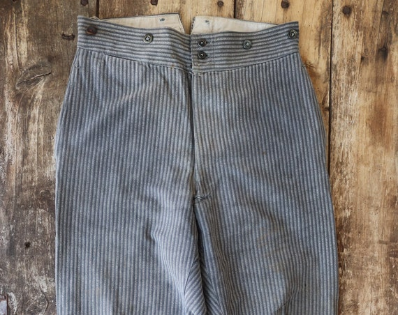 """Vintage 1950s 50s french grey black striped trousers pants pleated suspender buttons Sunday best 30"""" x 28"""" button fly buckle cinch back"""