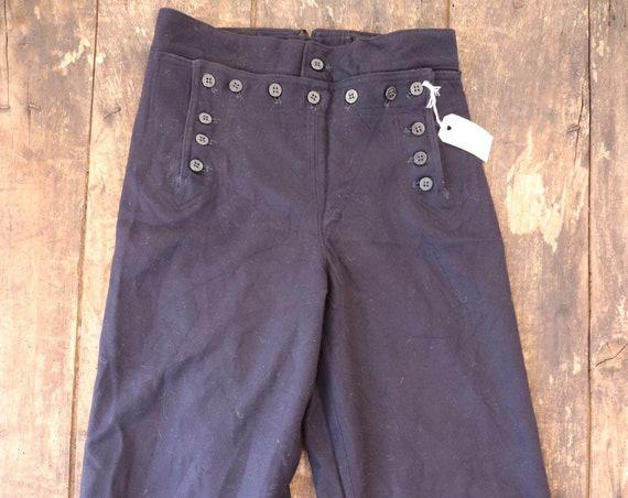 "Vintage 1960s 60s midnight navy blue wool USN US navy bell bottoms flares 13 button lace back Vietnam era 28"" x 30"""