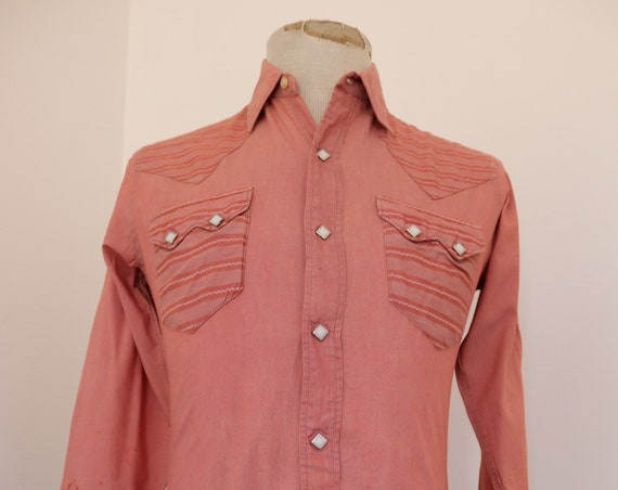 "Vintage 1960s 60s pink sawtooth pocket Western cowboy shirt patterned 38"" chest rockabilly country mens womens"