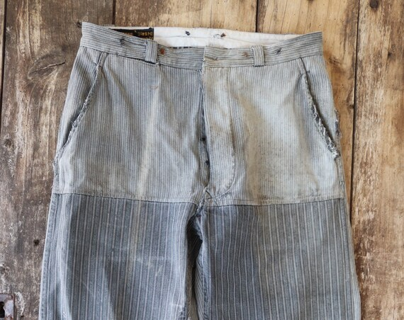 """Vintwge 1950s 50s french grey striped work chore trousers pants workwear darned patched repaired 32"""" x 26"""" button fly"""