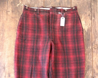 "Vintage 1960s 60s Woolrich red black checked plaid wool hunting trousers breeches suspender buttons 35"" x 31"" Talon zipper"