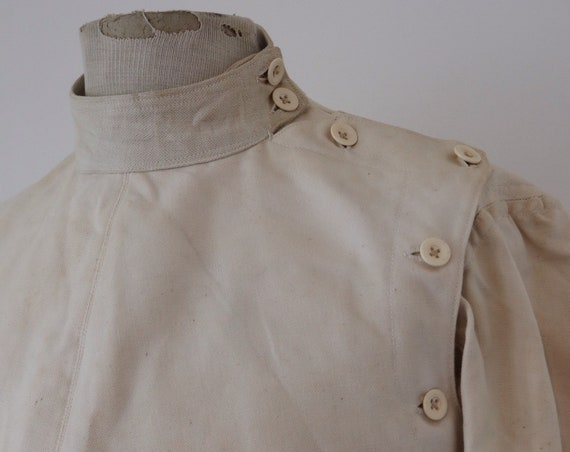 "Vintage 1900s 1910s 1920s french white linen cotton fencing jacket herringbone 42"" chest sportswear antique design"