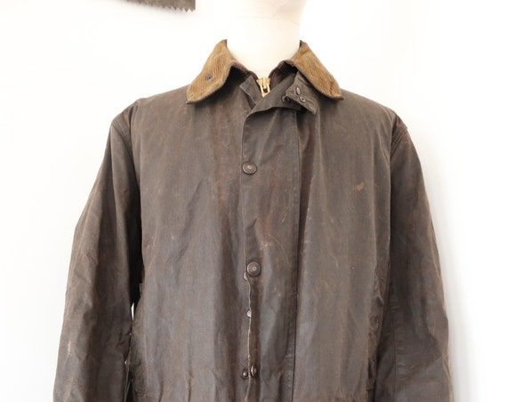 """Vintage brown Barbour Northumbria waxed cotton jacket XL 50"""" chest made in England walking camping"""