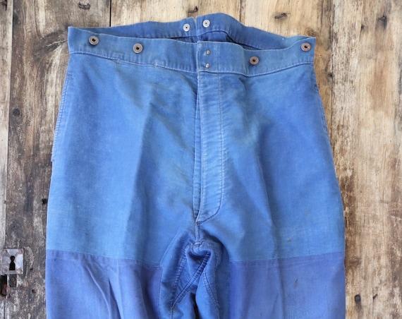 """Vintage 1950s 50s Le Mont french bleu de travail blue indigo moleskin chore work trousers pants buckle cinch back patched darned 39"""" x 28"""""""
