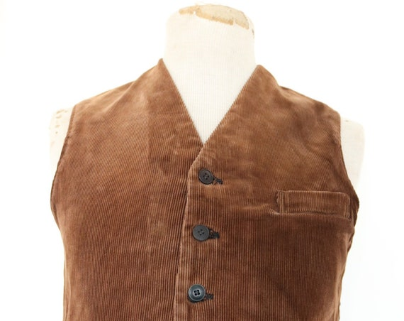 "Vintage antique 1910s 1920s 20s french brown corduroy cord shepherds waistcoat vest 38"" chest workwear chore work buckle back v notch"