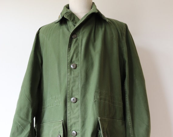 "Vintage 1970s 70s green cotton Swedish army military field jacket XL 52"" chest parka"