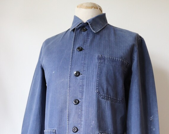 "Vintage 1970s 70s German hbt blue selvedge herringbone cotton twill work workwear jacket chore 42"" chest faded european"