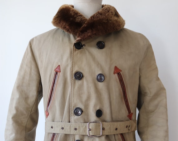 "Vintage 1940s 40s french brown cotton canvas shearling sheepskin barnstormer canadienne jacket double breasted 42"" chest"