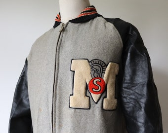 """Vintage 1960s 60s grey wool leather varsity jacket 46"""" chest trojan chenille patch M Coleman knitting mills college Ivy League car coat"""
