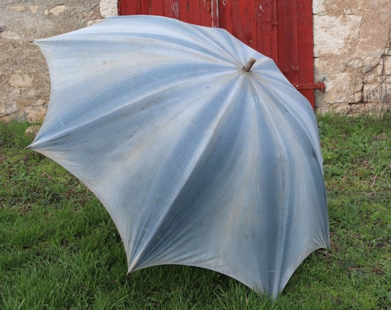 Vintage antique large french cotton indigo shepherd's parasol umbrella sun shade workwear chore work sun faded