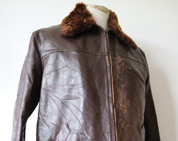 "Vintage 1940s 40s french brown leather jacket Canadienne 50"" chest mouton collar lining damaged repair project"