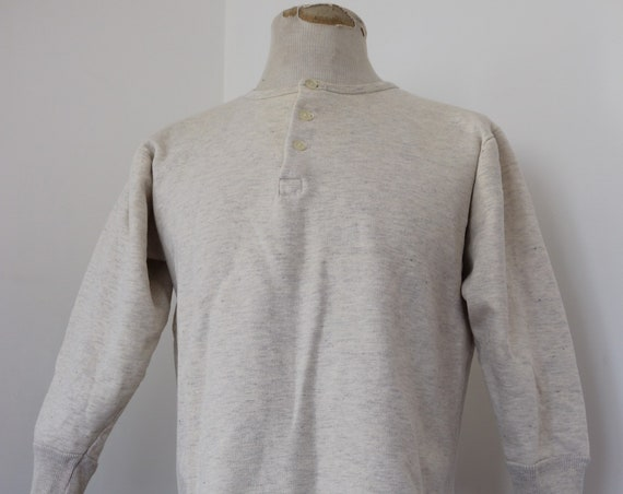 "Vintage 1950s 50s french army military grey marl flocked sweatshirt henley top unisex undershirt 42"" 43"" 44"""