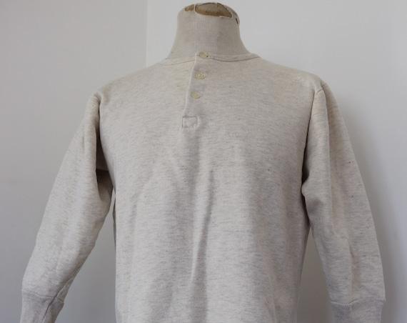 "Vintage 1950s 50s french army military grey marl flocked sweatshirt henley top unisex undershirt 42"" 43"" 44"""