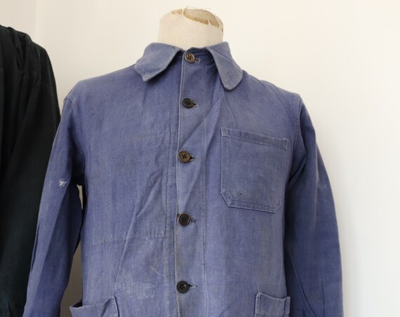 "Vintage 1950s 50s french blue bleu de travail indigo cotton twill chore work jacket workwear 41"" chest repaired (14)"