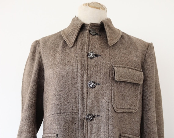 """Vintage 1940s 40s french brown grey wool hunting jacket 44"""" chest workwear work chore homespun"""