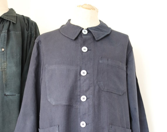 "Vintage 1960s 60s deadstock french painters jacket dyed indigo blue hbt herringbone twill 49"" chest workwear work chore (2)"