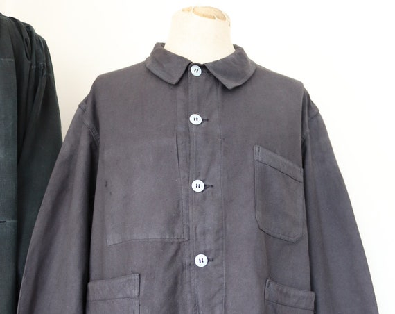 "Vintage 1960s 60s deadstock french painters jacket dyed indigo blue cotton twill 51"" chest workwear work chore (3)"