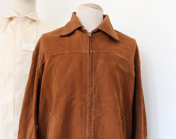 "Vintage 1950s 50s french brown moleskin zip up jacket workwear work chore 52"" chest"
