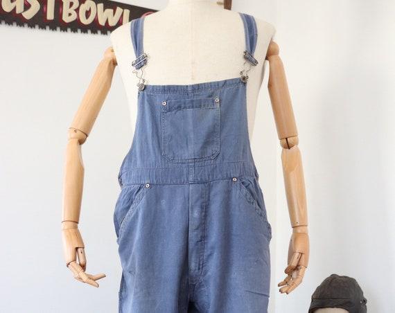 "Vintage french indigo blue bleu de travail dungarees overalls bib brace workwear chore work 34"" x 25"" hbt herringbone twill"