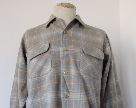 "Vintage 1960s 60s Pendelton grey checked plaid wool board shirt 45"" chest loop collar rockabilly"