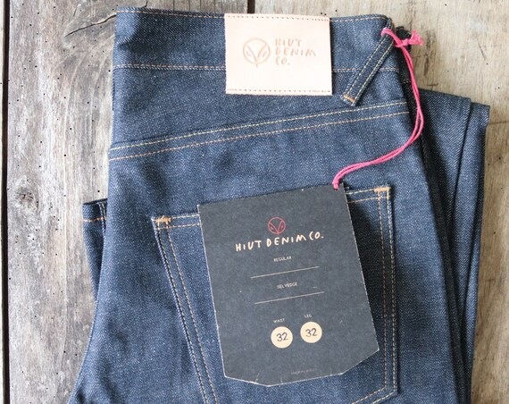 "Hiut Denim regular selvedge organic indigo jeans 32"" x 33"" handmade in Wales"