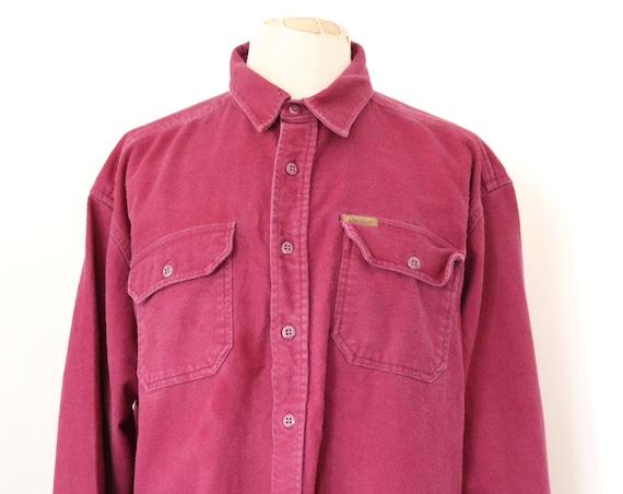 "Vintage 1990s 90s Woolrich plain burgundy red purple chamois cotton expedition shirt Western cowboy 57"" chest XXL RRL"