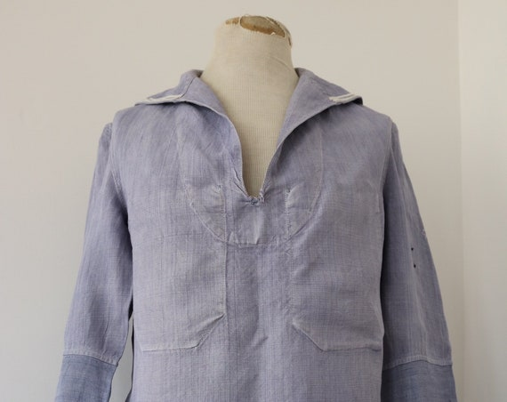 "RESERVED Vintage 1950s 50s french blue linen Marine Nationale sailors crackerjack bib top smock shirt uniform navy naval 42"" chest"
