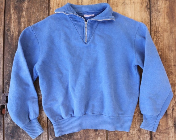 "Vintage 1970s 70s french blue quarter zip up collar sweatshirt sports top 38"" chest"