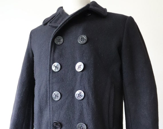"""Vintage Schott midnight blue wool pea coat jacket double breasted 42"""" chest made in USA USN navy naval"""