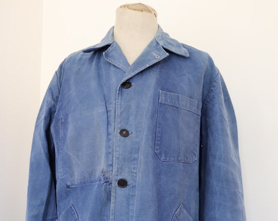 "Vintage 1950s 50s french thick cotton twill indigo sun faded work chore jacket back half repaired darned belt 48"" chest"