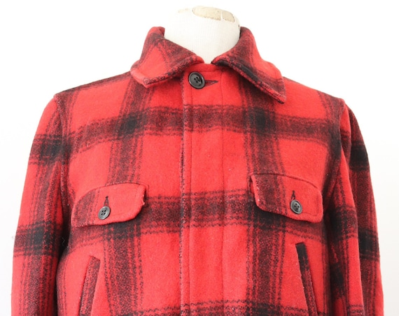 """Vintage 1950s 50s 1960s 60s King O Wear red black checked buffalo plaid wool hunting jacket rockabilly 46"""" chest"""