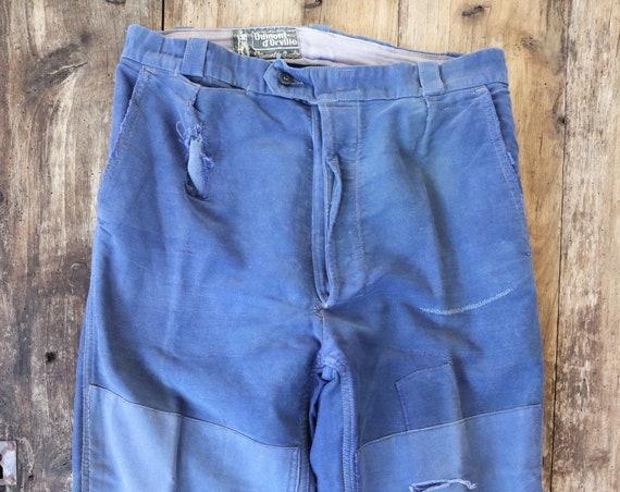 "Vintage 1950s 50s french bleu de travail blue indigo moleskin chore work trousers pants patched darned 31"" x 24"""