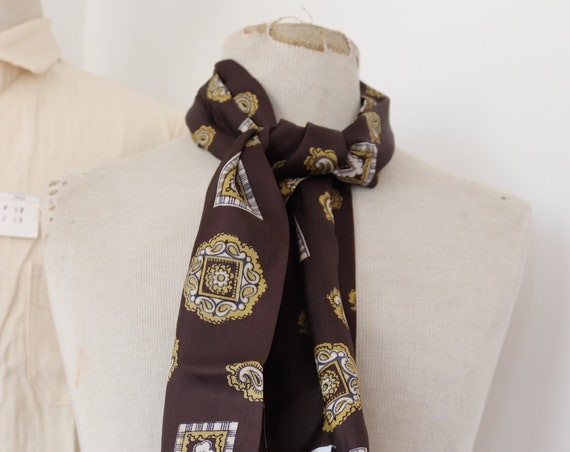 "Vintage 1960s 60s mens tassel tassled scarf mod dapper dandy brown yellow paisley acetate 8"" x 47"""