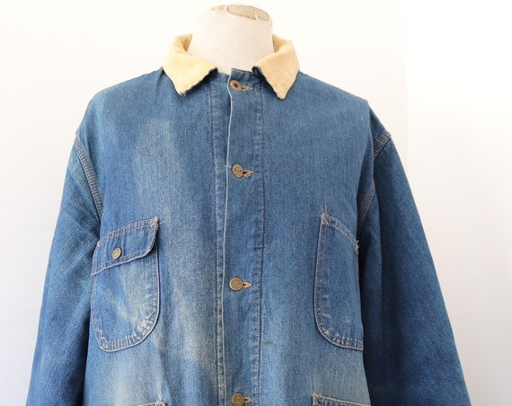 "Vintage Sears Fieldmaster indigo blue blanket lined denim jacket 56"" chest workwear corduroy collar western cowboy Union Made sun faded XXL"