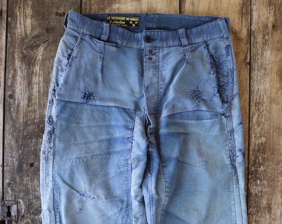 """Vintage 1950s 50s french indigo moleskin work chore pants trousers darned repaired patched workwear 30"""" x 24"""" button fly bleu de travail"""