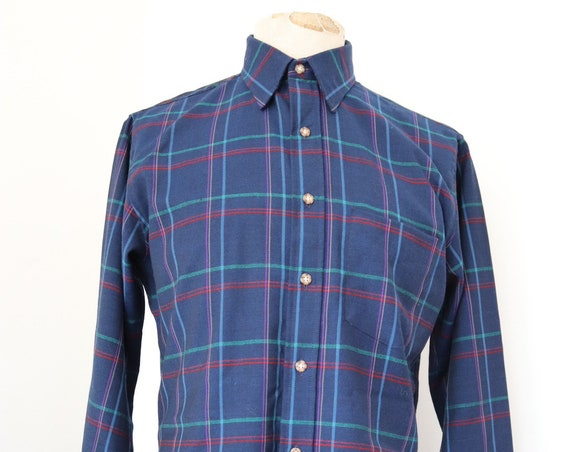 "Vintage Sir Pendleton teal blue green checked plaid wool shirt 43"" chest Ivy League style"