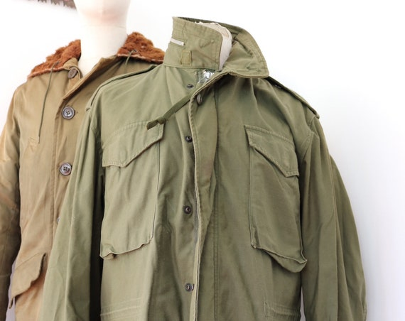 "Vintage 1960s 60s US army M-65 M65 sateen khaki green cotton jacket 46"" chest USA US military Vietnam era Conmar zipper"