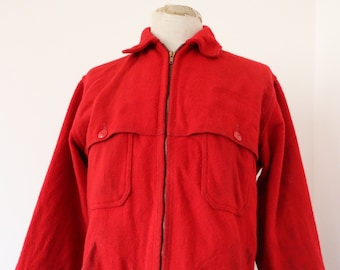 "Vintage 1970s 70s plain red wool Woolrich hunting jacket Talon zipper D pocket 45"" chest"